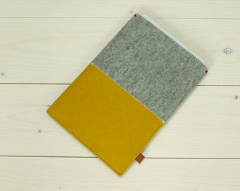 IPAD MINI 4 case felt in grey yellow - sleeve Handmade in Holland - ecofabric simple