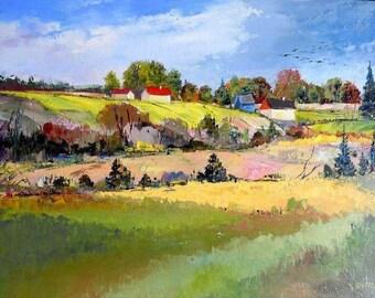 Original oil painting on canvas, landscape painting, impressionism, home decor, summer painting, wall decor, Quebec landscape