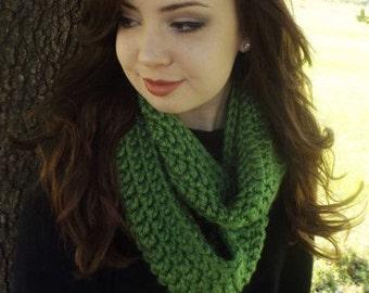 Chunky Crocheted Green Infinity Scarf