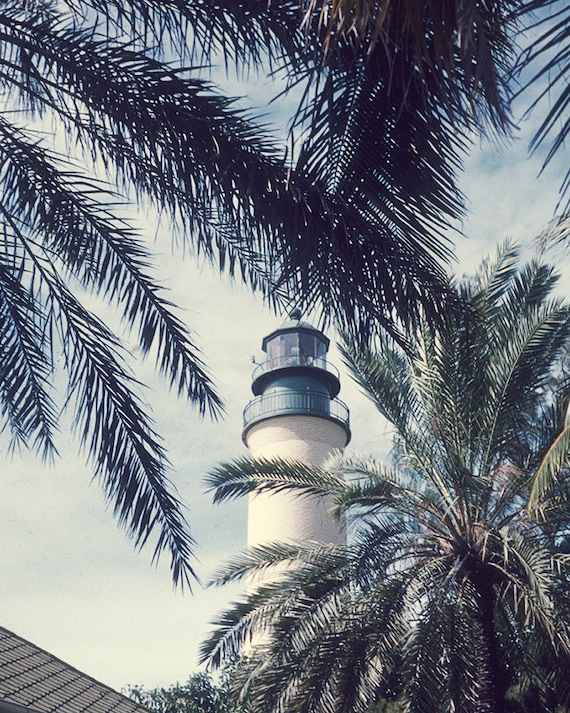Vintage Travel Scene, Lighthouse, Palm Trees Image, Photography Print, 1960's, Wall Decor, Mid Century Modern Print