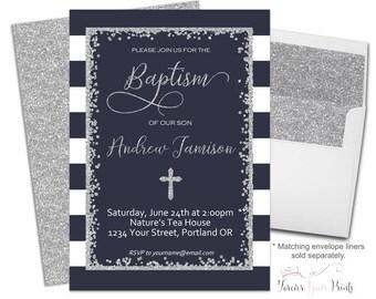 Navy Boys Baptism Invitation, Navy and Silver Baptism Invitation, Boys Christening Invitation, Boys Baptism Invite, Silver Glitter, Blessing