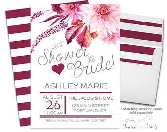 FLORAL Shower The Bride Invitations, Wedding Shower Invitations, Shower The Bride Invite, Bridal Shower Invite, Burgundy, Printed Invitation