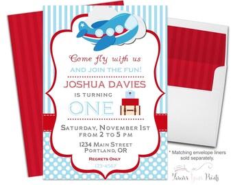 Boys Airplane Birthday Invitation - Airplane Party Invitation - Airplane Invitation - Airplane Invite - Pilot Party Invitation - Plane