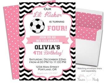 Soccer Party Invitations Girl - Soccer Birthday Invitations - Soccer Party Invites - Girls Soccer Invitation - Football Invitation Girl
