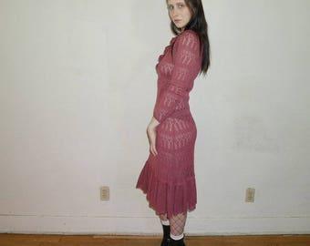 vtg 70s boho women's dusty rose knit long sleeve dress size S-M