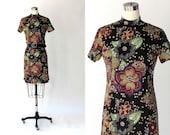 1960s Novelty Owl Print Shift Dress // 60s Vintage Floral Print Short Sleeve Dress // Medium - Large