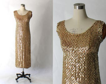 1960s Gold Sequin Evening Gown // 60s Vintage Stephan O'Grady Long Formal Dress // Small