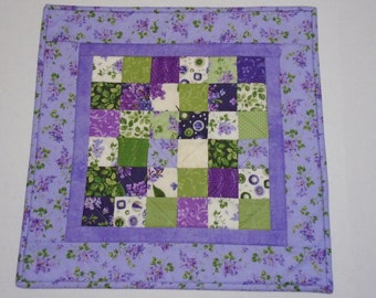 Floral Quilted Table Topper, Spring Quilted Table Runner with Lilacs, Cottage Chic Table Topper, Table Quilt, Purple Lavender Violet