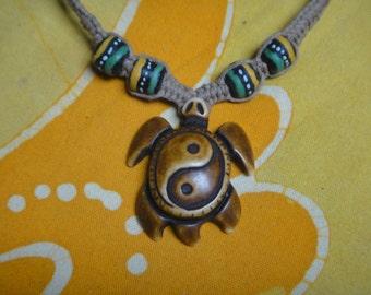 Yin Yang Sea Turtle African Rasta Bead Hemp Necklace Mens Jewelry Gift for Him Tribal