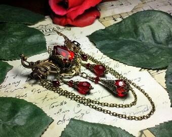 Ox Blood Red Bronze Gothic Victorian Barrette, Garnet Crimson Red Edwardian Bridal Barrette, Antiqued Filigree, Titanic Temptations 16003