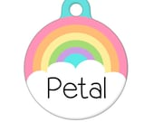 Personalized Pet ID Tag - Pastel Rainbow Custom Name Pet Tag, Dog Tag, Cat Tag
