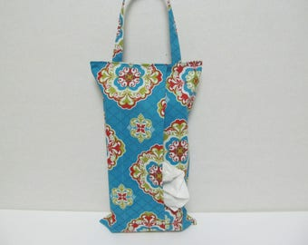 Small Defect SALE/Hanging Tissue Box Cover For Skinny Kleenex/Flower On Turquoise