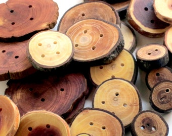 Huge Lot Of Large Handmade Wooden Buttons Reserved For Emma