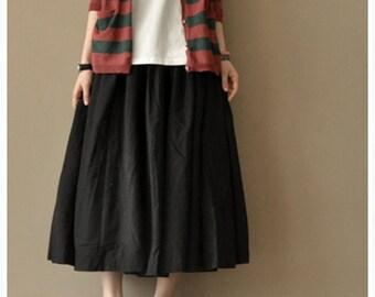 Sale - Linen Skirt - Black - Women Clothing - Women Skirt(QZ-001)