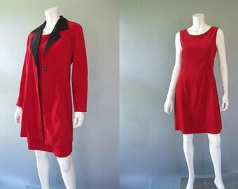 Vintage Coat Dress - 80s Gantos - Red Black - Plus Size