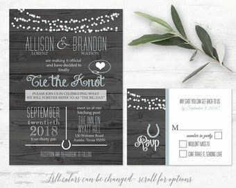 Western Wedding Invitation Set Rustic Country Wedding Invite RSVP | Tie the Knot Getting Hitched Barn Wood String Lights Printable Template