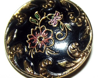 Antique Black Glass Button Victorian Floral design