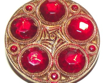 Vintage Button ~ Mercury Back Glass Button Bright Sparkly Red Button ~ Gorgeous Red Button