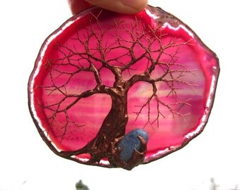 Copper Wire Tree Of Life Metal Art Sculpture On A Pink Agate Stone Crystal Suncatcher With Blue Quartz