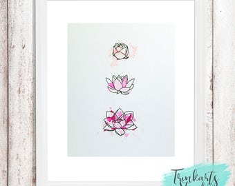 Lotus Flower Trio Mixed Media Original in Pink Ombre Watercolours & Stamping Embossing - 8x10 inch