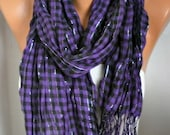 Black & Purple Plaid Scarf Fringe Scarf Birthday gift,pareo Cotton Tartan Scarf Shawl Scarf Cowl Scarf Gift Ideas Women Fashion Accessories