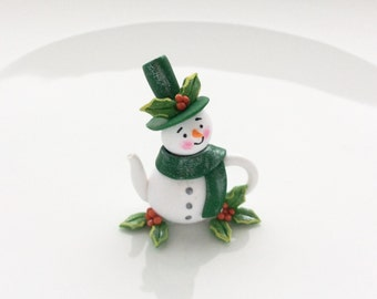 Miniature snowman teapot with holly berries handmade from polymer clay
