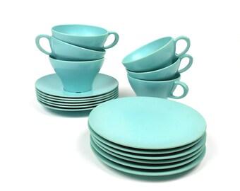 Vintage Melmac 18 pc Dessert Set Cups Saucers Plates Texas Ware 1960s Dining
