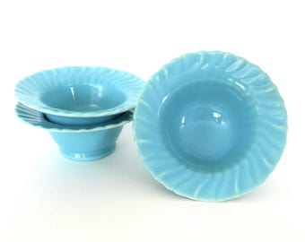 Franciscan Ware Sherbet Bowl Set of 3 Coronado Swirl Aqua Gloss 1940s