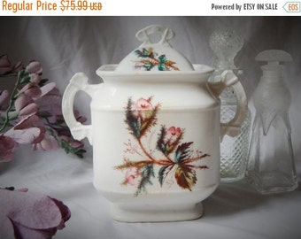 60% OFF LOVELY~Antique 1870s ~KTK~ Knowles, Taylor & Knowles 'Moss Rose' Ironstone China~ Covered Jar