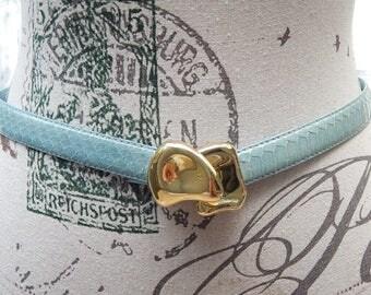 Vintage Snake Skin Leather Belt By R.O.C Size S/M Light Teal Dress Belt Brass Hook Clasp Dead Stock