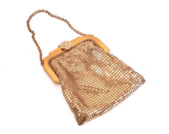 Whiting and Davis Gold toned Metal Mesh Bag, ArtDeco Purse, Special events accessory, Bridal, Something Old, Chainmail satchel