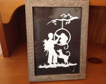 Scherenschnitte paper cutting boy and monkey framed print