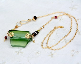 Roman Glass Gold Filled Necklace with Pearls, Garnet, Peridot& Tourmaline. Made in Israel. Roman Glass Jewelry. Green Roman Glass Necklace