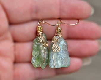 Gold Filled Roman Glass Earrings with Spirals. Rustic Glass Earrings. Roman Glass Jewelry Gold Filled Jewelry Israeli Earrings Free Shipping