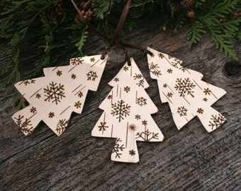 Birch Bark Trees with Burnt Snowflakes - Ornaments - Set of 3