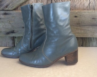 Gray Slate Italian Leather Ankle Boots Vero Cuoio, Cuban Heels, Boots Size 40