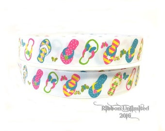 5 yds  7/8 Inch Summer FLIP FLOPS beach grosgrain ribbon LOW Shipping Cost