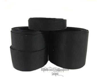 10 Yards WHOLESALE Black Solid grosgrain ribbon LOW SHIPPING Cost