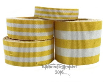 10 Yds WHOLESALE Yellow TAFFY Stripes grosgrain ribbon LOW Shipping Cost