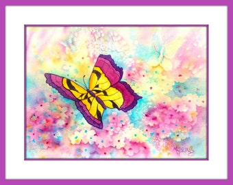 Watercolor Butterfly, Spring Flowers, Watercolor Flowers, Butterfly Art, Pink and Blue, Mauve, Yellow, Art With Heart, Martha Kisling