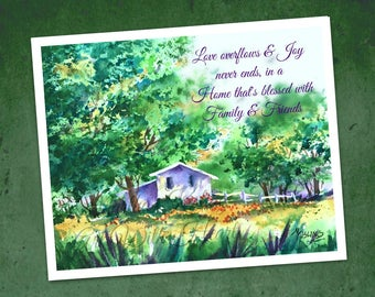 Watercolor Cottage PRINT, 8x10 Watercolor Print, Love Joy, Family Friends,Cottage Chic Art, Blessed Home,Inspirational Quote, Art With Heart
