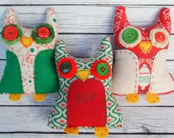Holiday Retro Small Plush Wacky Owls