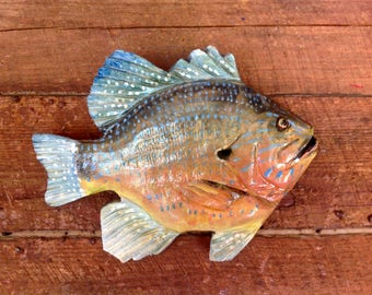 """Sunfish 12""""  fish wall mount home decor indoor outdoor art Todd Lynd original chainsaw carving wooden bluegill lake retreat fish camp art"""