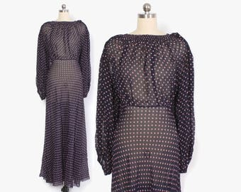 Vintage 30s Polka Dot Chiffon DRESS / 1930s Bias Cut Semi Sheer Evening Gown with Billowing Sleeves & Keyhole Back