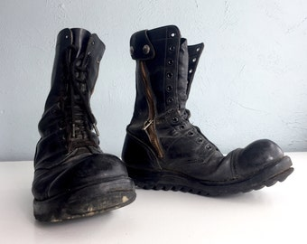Original Corcoran Jump Boots, Black Leather Boots, Paratrooper, Cap Toe, Rubber Ripple Sole, Combat Boots, Miltary, Stoughton MASS