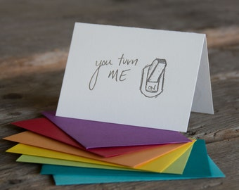You turn me on light switch card, letterpress printed eco friendly
