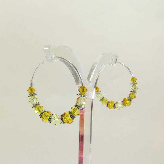 Swarovski and Sterling Hoop Earrings, You Are My Sunshine Earrings Sunny Shades of Swarovski Crystal w Sterling Silver, Silver Hoop Earrings