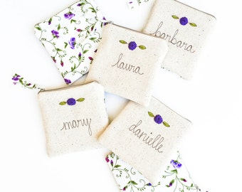 Will You Be My Bridesmaid, Personalized Bridesmaid Gift, Bridesmaid Jewelry Bag, Set of 5, 6, 7, 8, 9 Unique Coin Purse, Small Zipper Bag