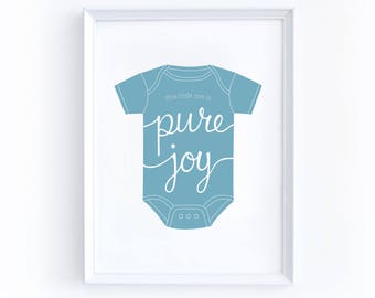 Instant Download Nursery Print - 5 by 7 Inches, Printable, Onesie, Newborn, Pure Joy, Boy, Blue, Cute, New Baby, Baby Shower, Simple, Love