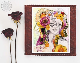 mixed media collage art - female portrait - floral wall art - boho decor